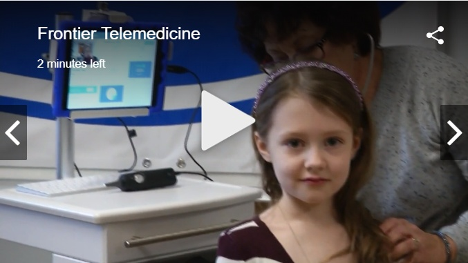 Screenshot of Channel 4's video. Student is evaluated with telemedicine.